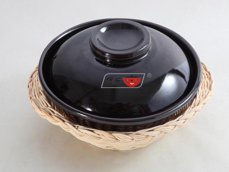 黑釉耐高温砂锅带盖